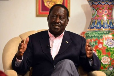 Nasa leader Raila Odinga during the interview with Daily Nation and NTV at his Karen Residence in Nairobi (file photo).