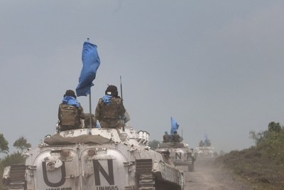 UN peacekeeping mission in Democratic Republic of the Congo (MONUSCO) BMP armored vehicle on patrol.