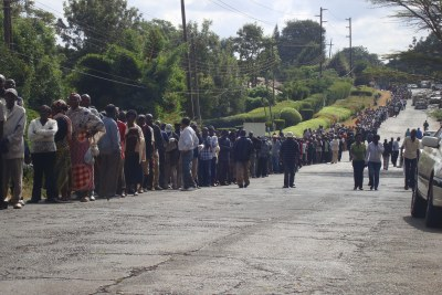 Long lines at polling stations like this one at a Nairobi grade school epitomized the 2013 Kenyan elections. That contest was the first presidential election since the 2007-2008 electoral violence.