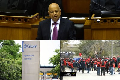 Top: Public Enterprises Minister Pravin Gordhan. Bottom-left: Eskom head office Megawatt Park. Bottom-right: Video screenshot of Eskom workers protesting the 0% wage increase.