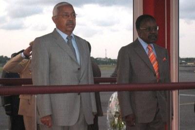 Pedro Pires, left, with the late Gabonese President Omar Bongo.
