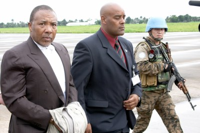 Transfer of Charles Taylor for trial for war crimes in the Hague (file photo).