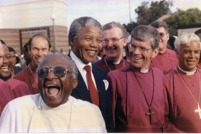 Archbishop Desmond Tutu and his bishops welcome Nelson Mandela out of prison at a meeting in Jabavu, Soweto, in February, 1990.