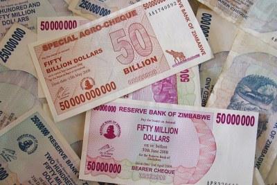 Zimbabwe dollars, now abolished after it became worthless.