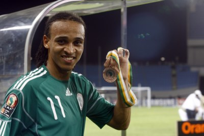 Peter Odemwingie of Nigeria plays for the UK club West Bromwich Albion.
