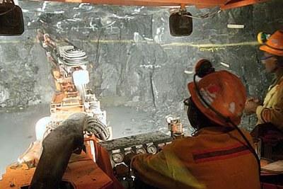 Mining underground at Ngezi, a Zimbabwean platinum mine.