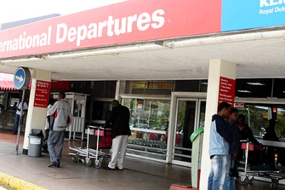 Passengers at the International Departures hall of Jomo Kenyatta International Airport (file photo).