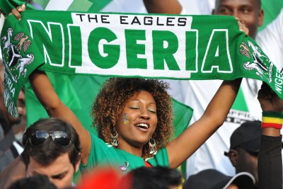 A Super Eagles fan displays her support at the match between Argentina and Nigeria in Johannesburg.