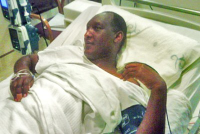 Faustin Kayumba Nyamwasa in his hospital bed.