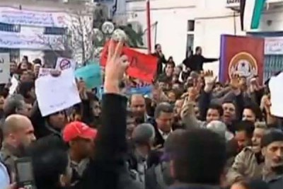 Al Jazeera television news showed footage of the thousands of protestors who took to the streets of Tunisia, forcing President Zine El Abidine Ben Ali from power.