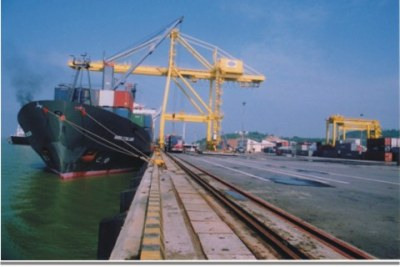 Cargo ship in Port Harcourt.