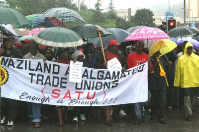 Workers during a protest in Mbabane against the government's financial crisis.