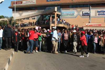 Teachers and other workers protested in Swaziland , appealing for an international asset freeze against King Mswati III (file photo).