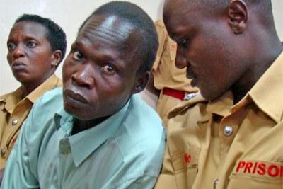 Thomas Kwoyelo at trial at Gulu high court in Uganda