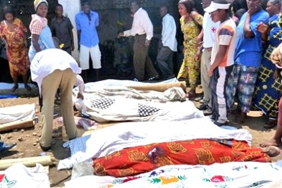 Victims of a massacre carried out in a bar in the Burundian town of Gatumba on 18 September 2011. While the scale of this attack was unprecedented in recent years, killings are reported almost daily in Burundi.