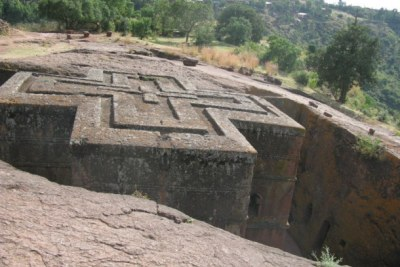 Rock-hewn Church of St. George  in Lalibela, Ethiopia.