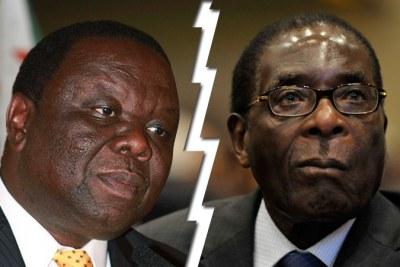 Prime Minister Morgan Tsvangirai, left, and President Robert Mugabe.