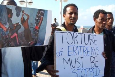 (Photo d'archives) - Des Érythréens protestant contre la torture perpétuée dans le pays.