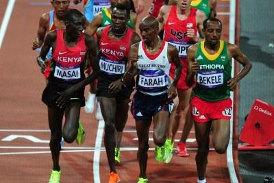 From left, Olympics 10,000m contenders Moses Ndiema Masai, Bedan Muchiri, Mo Farah (who won gold) and Tariku Bekele (silver).