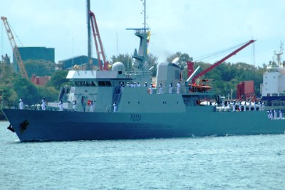 The KNS Jasiri naval ship after it was received by Defence Minister Yusuf Hajji in Mombasa.
