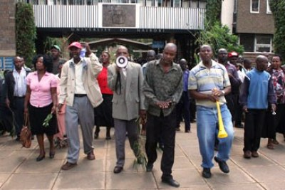 Lecturers protest during a previous strike (file photo).