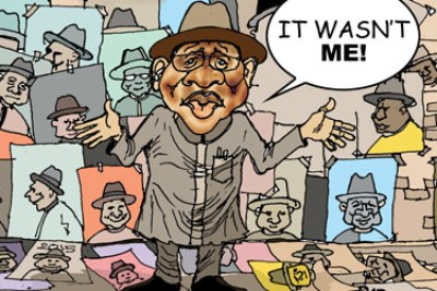 A cartoon depicting President Goodluck Jonathan.