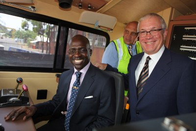 South Africa's Minister of Public Enterprises, Malusi Gigaba, in a General Electric locomotive with GE Africa's President and CEO, Jay Ireland.