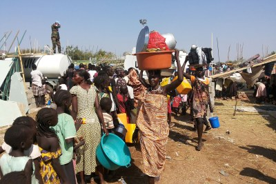 Civilians displaced by fighting at a United Nations facility on the outskirts of Juba. Up to 13,000 civilians have sought refuge at UN compounds.