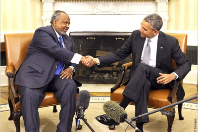 President Obama and President Ismail Omar Guelleh of Djibouti discuss ways to strengthen security and economic ties at their meeting in the White House (file photo).