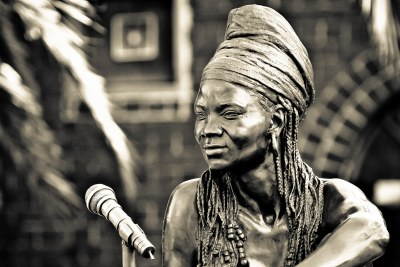 Angus Taylor's life-size bronze sculpture of Brenda Fassie outside Bassline, a music venue in Johannesburg.