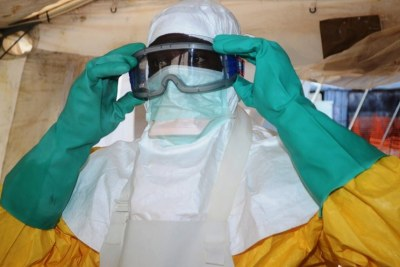 A doctor preparing to treat patients diagnosed with Ebola.