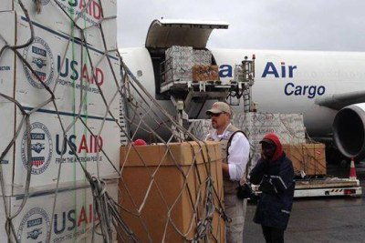 The U.S. Agency for International Development airlifts medical and emergency supplies.