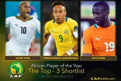 GLO-CAF Awards: Les trois finalistes sont Aubameyang, Ayew et Touré