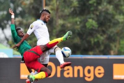 Cameroon versus Dr Congo action during 2016 Rwanda CHAN.