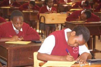 Candidates at Moi Girls High School in Eldoret doing their Biology Paper 1 KCSE exam (file photo).
