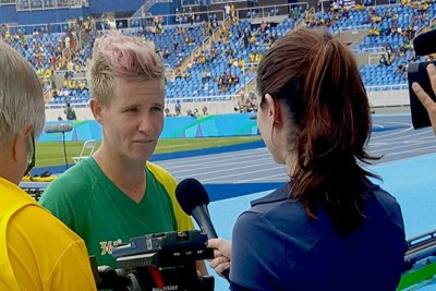 South Africa's Banyana Banyana captain Janine van Wyk being interviewed by the press in Rio after her team lost 1-0 to Sweden in the first match of the 2016 Rio Olympic Games currently underway in Brazil. South Africa's SABC is one of many African broadcasters sending a team to Rio to provide regular updates. Broadcasters covering the Rio games will operate from within the GE-powered International Broadcast Center from where their broadcast signals will be beamed to their various countries.