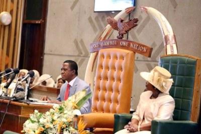 President Edgar Lungu in parliament.