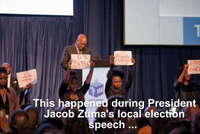 Zuma interrupted during election speech.