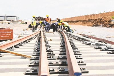 Construction of the standard gauge railway line (file photo).