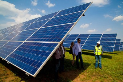 Solar panels installed in Rwamagana District (file photo).
