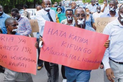 Journalists and media activists demonstrate during International Press Freedom Day (file photo).