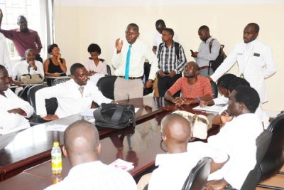 Makerere University medical students during a meeting at the College of Health Sciences.