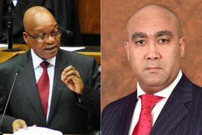 Left: President Jacob Zuma. Right: NPA head Shaun Abrahams.