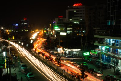 Addis Ababa is a very active city even by night. Taken near Bole MehaneAlem - Edna Mall.