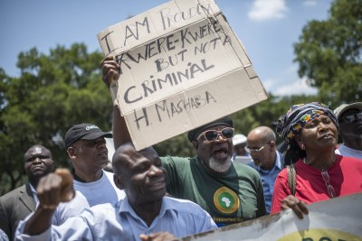 Protesters picketed against xenophobic comments reportedly made by Mayor Herman Mashaba.