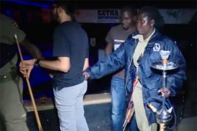Police arrest shisha smokers at a city bar at the weekend.