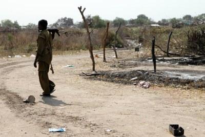 Un individu armé dans la ville de Pibor, dans l'Etat de Jonglei. Pibor a connu des affrontements violents qui ont entraîné des déplacements, ainsi que la destruction des moyens de subsistance et de biens.