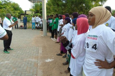 Participants in a marathon held in memory of the Garissa University College terror attack victims at the institution, on April 2, 2017.