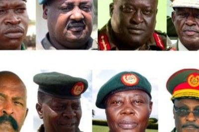 Top row (From L-R): 2024. Maj Gen Peter Elwelu, 2021. Brig Sam Kavuma, 2021. Lt Gen Andrew Gutti and 2018. Maj Gen Joram Mugume. Lower row (From L-R): 2019. Lt Gen Ivan Koreta, 2020. Brig Silver Kayemba, 2021. Maj Gen Proscovia Nalweyiso and 2018. Maj Gen Pecos Kutesa.