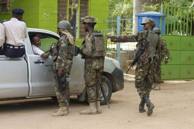 Tight security at the entrance of Garissa University College on April 3, 2015, after Al-Shabaab militants attacked the University (file photo).